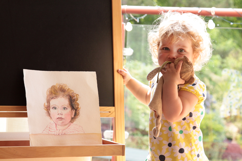 Molly with her most recent portrait